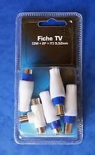 *** LOT DE 5 FICHES TV 9.52 ASSORTIES NEUVES SOUS BLISTER  ***