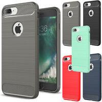 2017 Shockproof Carbon Fiber Brushed Rubber Soft Cover Case For iPhone 8 8 Plus