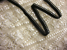 "5 yards 3/8"" width Black scalloped edge trim lingerie elastic"