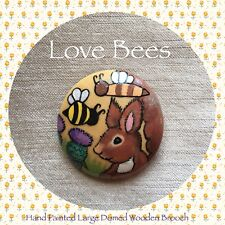 Love Bees Let's Bee Highland Friends (Red Squirrel/Thistle) Domed Wooden Brooch