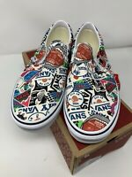 NEW Vans Classic Slip On Mash Up Stickers White Multicolor Women's 10.5 Men's 9