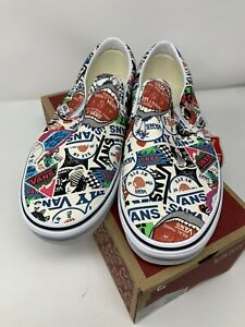 Vans Classic Slip On Mash Up Stickers White Multicolor Men's Size 10