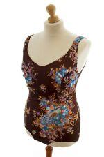 Vintage orig 70er Badeanzug braun Rockabella Bademode Blumen OLUBA L XL
