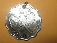 SILVER TONE AFRICAN SWAZILAND ELEPHANT COIN PENDANT CHARM NECKLACE