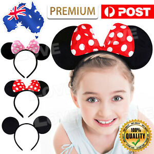 MICKEY MINNIE MOUSE EARS HEADBAND PARTY COSTUME BOW FANCY DRESS 3 COLOURS