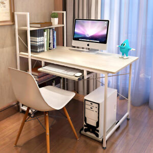 Computer Desk Wood With Keyboard Tray Office Study Workstation Shelfs Home UK