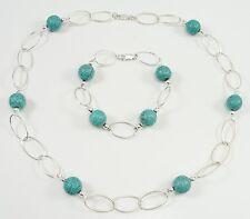 Sterling Silver Tibetan Turquoise Balls Necklace Bracelet Set Oval Links