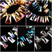 Lampwork Glass Crystal Trapezium Beads Loose Spacer Jewelry Findings 10x20mm