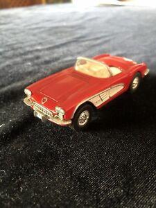 "ERTL VINTAGE 1:43 4"" LONG 1960 CHEVY CORVETTE DIECAST CAR-RED/WHITE~NO BOX"