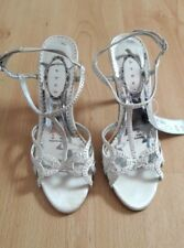 Gorgeous Cream Strappy Diamante Ankle Strap Shoes by Debut - Size 4 (37) - Fab!