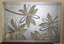 Pier 1 Open Carved Wood Floral Flower Wall Art Brushed Silver Gray 48 x 20