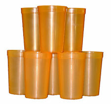 12 Large-20 oz  Orange Translucent Plastic Drinking Glasses Cups 12  Mfg USA