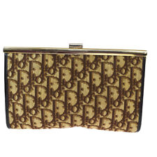 Auth Christian Dior Trotter Pattern Clutch Hand Bag Canvas Leather Brown 62JC161