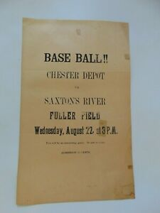 c.1900 FOLDED  BASEBALL BROADSIDE CHESTER DEPOT VS. SAXTON'S RIVER VT.