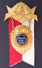 1908 Republican National Convention DELEGATE Badge & Ribbon  - Chicago