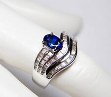 STUNNING BLUE 1.68TCW SAPPHIRE AND DIAMOND + 18K WHITE GOLD RING- UNIQUE ITEM