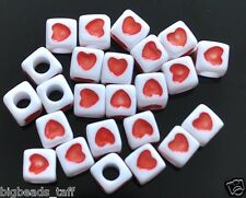 40 pcs acrylic beads with red heart, cube, white,  7 mm