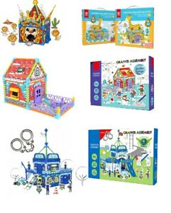 Childrens Kids Doodle Build Colour Drawing Cardboard Play Houses DIY Xmas Gift