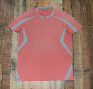 VINTAGE OLD LOGO Luluemon Men XL Workout Shirt Short Sleeve Pink METAL VENT TECH