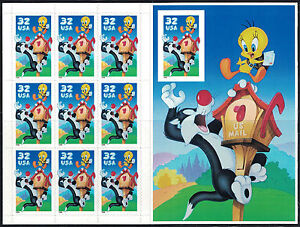 1998 SYLVESTER & TWEETY BIRD Looney Tunes MNH Booklet Pane 10 x 32¢ Stamps #3204