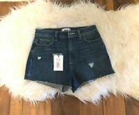 New PAIGE shorts Women's High Waist Margot Shorts Denim Destructed Size 27