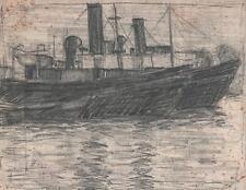JULIUS ROSENBAUM Pencil Drawing BOATS AT SEA c1910 GERMAN EXPRESSIONISM
