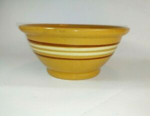 """Antique Yelloware Yellow Ware Bowl Brown & White Banded  9 1/2"""""""