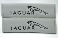 Gray Soft Seat Belt Cover Shoulder Pad Pairs with Black Embroidery Jaguar Logo