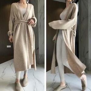 Womens Knitted Cardigan Sweater Wool Blend Loose Coat Long Outwear Knitwear