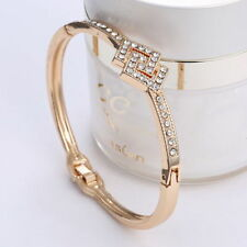 *UK Ladies Crystal gold Rhinestone Bangle diamante Bracelet Jewellery Gift 1127