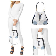 Michael Kors Mercer Gallery Small Convertible Bucket Navy Multi Shoulder Bag