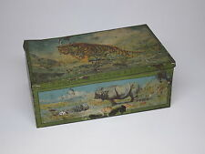 Rare HUNTLEY & PALMERS Biscuits Litho Tin Safari Animals Tiger Rhino Polar Bear