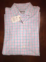 NEW Peter Millar Crown Finish Check Sport Shirt MENS Large Pink And Blue Plaid