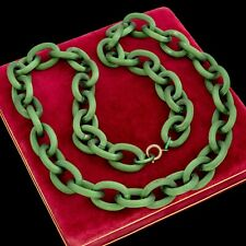 "Antique Vintage Art Deco Gold Filled GF Green Cable Chain Link 31.0"" L Necklace"