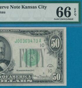 $50. 1934 KANSAS CITY DISTRICT GREEN SEAL FRN PMG GEM NEW 66EPQ