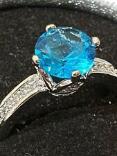 blue Topaz height setting wedding ring sterling silver sf  6 us