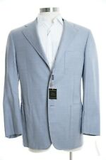 $2K Sartoria Partenopea Italy 42R 100% Wool Light Blue Cream Check Plaid Blazer