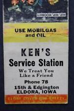 1940-50s Era Eldora,Iowa Ken's Mobil Oil Gas Station matchbook-VINTAGE COOL!