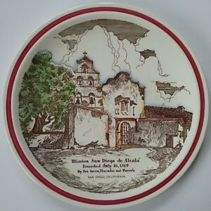 "California Mission Series CHARGER 14"" San Diego de Alcala Vernon Kilns Pottery"