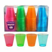 Brights Party Plastic Shot Glasses x60 NEW