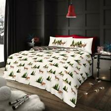 Christmas Xmas Forest Stag Snow Tree Duvet Quilt Cover Bedding Set White