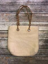 Talbots Straw shoulder bag tote gold tone accents zipper top