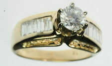 14K Yellow Gold 2 CTTW Diamond Solitaire & Baguette Accents Engagement Ring