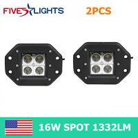 2X 16W LED Work Light Offroad Cube Pods Spot Truck Save 24w Flush Mount Trailer