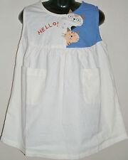 New 100% Cotton Girls Cream Dungaree Pinafore Dress Size Age Medium M 6-8 Years