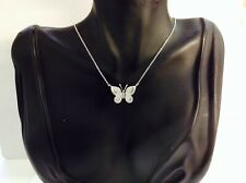 """Butterfly Sterling Silver,diamonds,Necklace 18"""" Inch"""