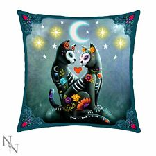 Nemesis Now Light up Starry Night Day of The Dead Sugarcats LED Cushion 40cm