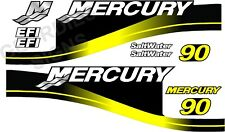 YELLOW MERCURY 90 OUTBOARD FOUR STROKE MOTOR STICKERS DECAL KIT ENGINE