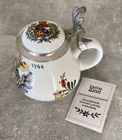1744 Porzellankrug, Krug mit Zinndeckel Handbemalt - Bayern Frieling Zinn #K08