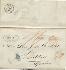 Liverpool London to Seville Espana 1860 Spanish postal history